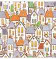 seamless pattern with cartoon doodle houses can vector image