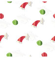 seamless pattern with christmas hats vector image