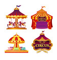 set of carnival circus emblems vector image vector image