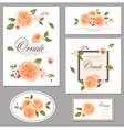Set roses floral vintage cards vector image vector image