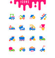 set simple icons agricultural machinery vector image vector image