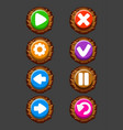 set wooden buttons for game vector image