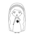 silhouette caricature cute woman in wedding dress vector image vector image
