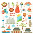 south korea icons set korean traditional symbols vector image