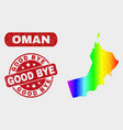 spectrum mosaic oman map and distress good bye vector image vector image