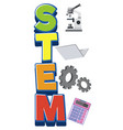 stem logo with education objects isolated vector image vector image