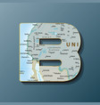 uppercase letter b with map to use monograms vector image