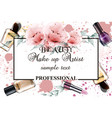 vintage watercolor make up professional background vector image vector image