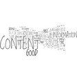 what is good content text word cloud concept vector image vector image