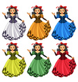 Woman in different color dress vector image