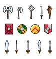 Set of different arms and shields vector image