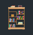 Flat design of library bookshelf vector image