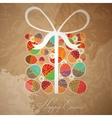 Easter card template - gift box from eggs vector image