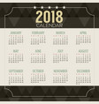 2018 dark geometric pattern printable calendar vector image