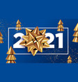2021 new year typographic sign with golden bow vector image