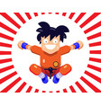 a cheerful little man karate in a jump vector image