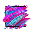 abstract card with square frame and colorful brush