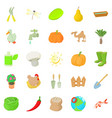 barnyard icons set cartoon style vector image vector image