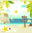 beach banner with rocks yacht and wooden sign vector image