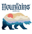bear and nature double exposure mountain vector image vector image