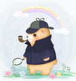 bear in detective costume vector image