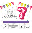 birthday card with candle number seven vector image vector image