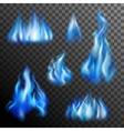 Blue Fire Transparent Set vector image vector image