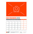 calendar planner template for 2018 year december vector image