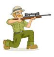 cartoon a hunter aiming a rifle vector image vector image