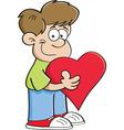 Cartoon Boy Holding a Heart vector image vector image