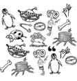 cartoon characters seamless pattern vector image vector image