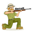 cartoon of a hunter aiming a rifle vector image vector image