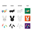 children toy cartoonblackoutlineflat icons in vector image