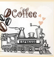 coffee vintage poster with coffee grains and train vector image