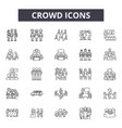 crowd line icons signs set outline vector image