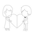 cute couple just married with heart vector image vector image