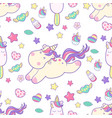 cute kawaii unicorn with magical elements and ice vector image vector image