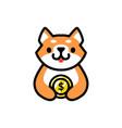 cute shiba inu money coin dog cartoon logo icon vector image vector image