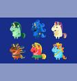 cute unicorns set funny fantastic animals vector image vector image
