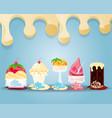 delicious ice cream set menu vector image vector image