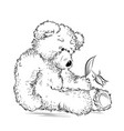 drawing unhappy teddy bear with broken flower vector image vector image