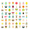 easter big flat styled icons set over white vector image