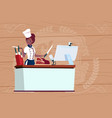 female african american chef cooking in front of vector image