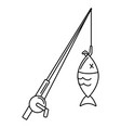 fish and fishing rod vector image