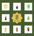 flat icon beverage set of carbonated soda bottle vector image