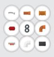 flat icon sanitary set of plastic iron vector image vector image