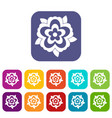 flower icons set flat vector image vector image