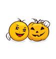 funny emoji set - halloween vector image