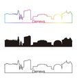 geneva skyline linear style with rainbow vector image vector image
