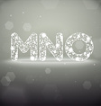 Glowing Font from M to O on Bokeh Backgroun vector image